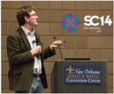 Dr. Micheal Browne presenting ICHEC's results at SC14 in Germany