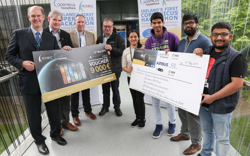 Pictured at the first Irish Copernicus Hackathon competition hosted by ICHEC in NUI Galway are from l-r: Judges, Dr John Eaton, formerly NUI Galway; Vincent Hussey, OPW; Dr Paul Kiernan Skytek and Dr Stuart Green, Teagasc with Hackathon competition winners Nadia Saba, Monish Kadam, Manmaya Panda and Manohar HS. Photo: Aengus McMahon