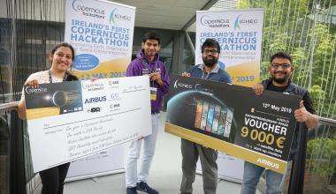 ictured at the first Irish Copernicus Hackathon competition organised by ICHEC at NUI Galway, are the 2019 competition winners from l-r: Nadia Saba, Monish Kadam, Manmaya Panda and Manohar HS. Photo: Aengus McMahon