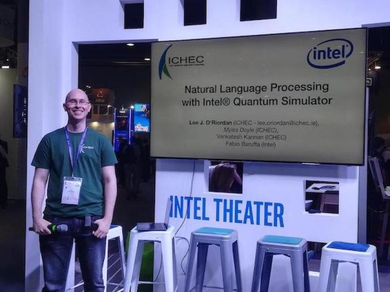 Lee O'Riordan presenting at the Intel Booth, ISC'19
